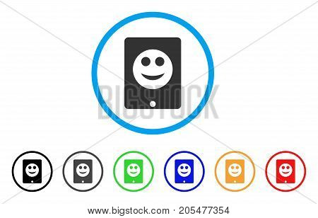 Pad Smile rounded icon. Style is a flat pad smile grey symbol inside light blue circle with black, gray, green, blue, red, orange versions. Vector designed for web and software interfaces.