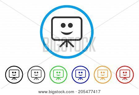 Projection Board Smile rounded icon. Style is a flat projection board smile gray symbol inside light blue circle with black, gray, green, blue, red, orange color versions.