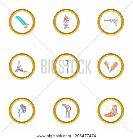 Orthopedic icons set. Cartoon style set of 9 orthopedic vector icons for web design
