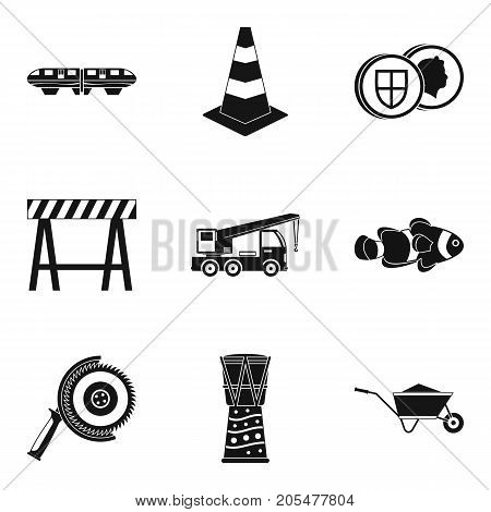 Supply of material icons set. Simple set of 9 supply of material vector icons for web isolated on white background