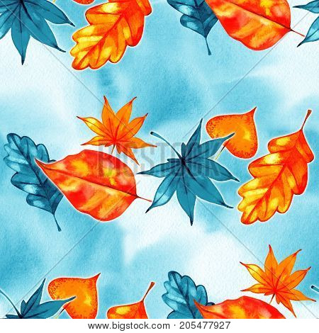 Autumn leaves - watercolor seamless pattern on blue sky