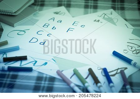 English; Kids Writing Some English Alphabet For Practice