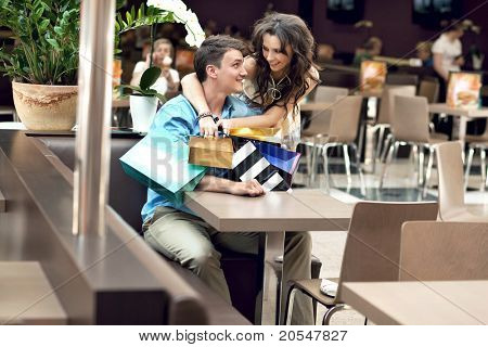 Young couple in shopping mall