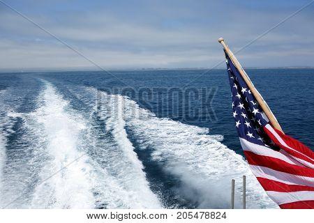 City and Ventura coats line s seen from a speeding toward ocean cruise ship Southern California