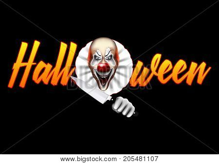 The inscription is Halloween, with a terrible evil clown. A killer with a knife in his blood. Vector illustration.