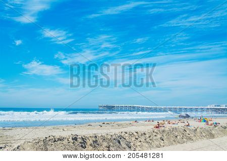 San Diego CA USA - November 04 2016: People in Pacific Beach on a sunny day
