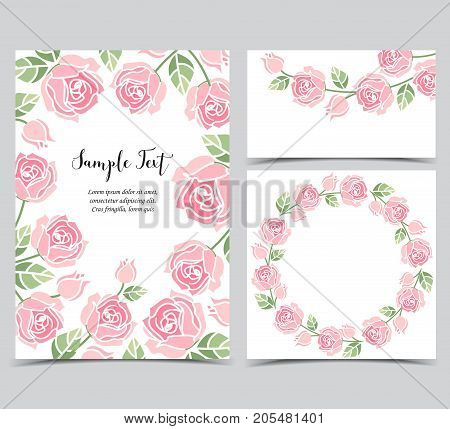 Vector illustration of a background with pink roses, decorative frame with roses and leaves. Set of greeting cards