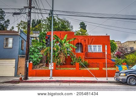 Colorful house in Echo Park Los Angeles. California USA