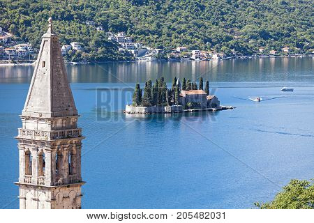 Monastery on the island in Perast, Montenegro.