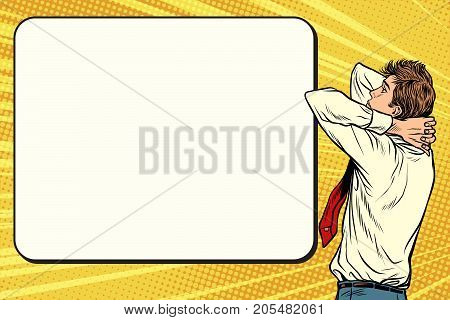 Thinking scientist, business solutions and objectives. Pop art retro vector illustration