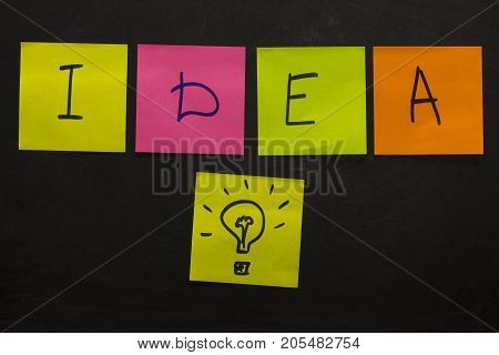 Business Creative Idea Concept With Light Bulb.colorful Sticky Notes On The Blackboard