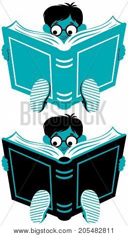 Cartoon little boy reading book in 2 colors and 2 versions.
