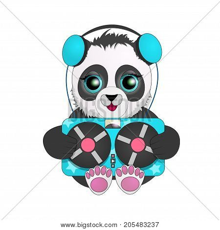 Panda with headphones listening to vintage tape recorder. cartoon character