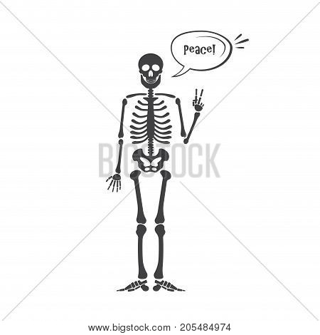 Skeleton human anatomy. Vector halloween black skeleton isolated on white. Skeleton hand sign: ok, finger up, finger down, fist, middle finger, Rock n roll horns, clapping palms and other emoji