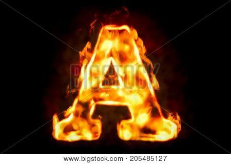 Fire letter A of burning flame light 3D rendering isolated on black background