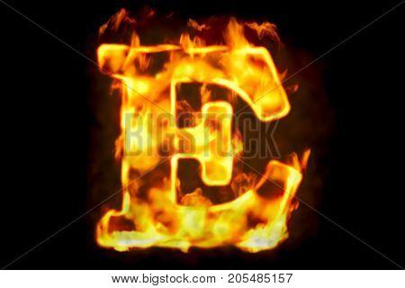 Fire letter E of burning flame light 3D rendering isolated on black background