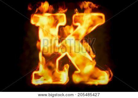 Fire letter K of burning flame light 3D rendering isolated on black background