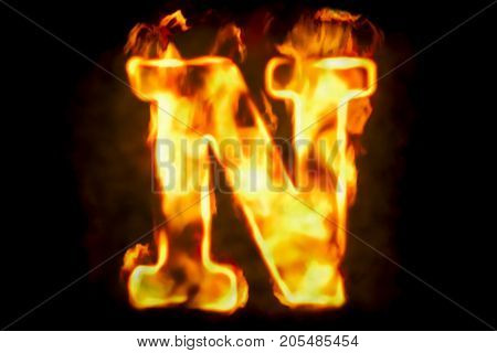 Fire letter N of burning flame light 3D rendering isolated on black background