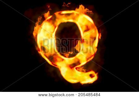 Fire letter Q of burning flame light 3D rendering isolated on black background