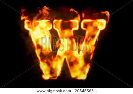 Fire letter W of burning flame light 3D rendering isolated on black background