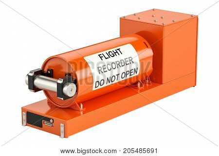 Flight data recorder known as black box 3D rendering isolated on white background