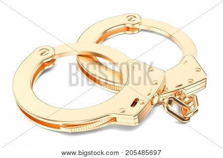 Golden Handcuffs closeup 3D rendering isolated on white background