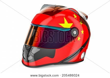 Racing helmet with flag of China 3D rendering isolated on white background