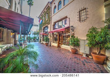 Santa Barbara CA USA - October 26 2016: shopping center in downtown SB