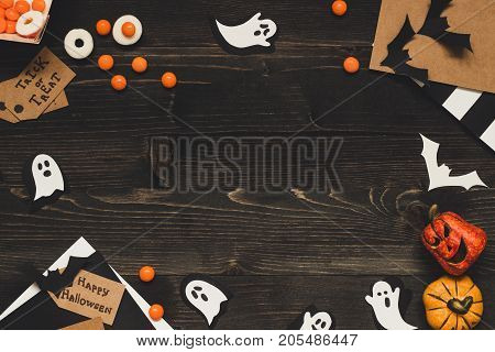 Halloween Sweets, Halloween Cards And Decoration Made Of Craft Paper. Copy Space