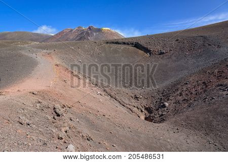 Crater of Etna created by eruption in 2002 Sicily Itlay