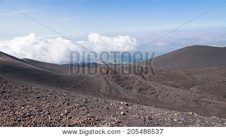 Lunar landscape of the Mount Etna Sicily Italy