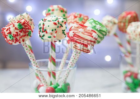 Marshmallow cakepops pops sweet dessert for Christmas party