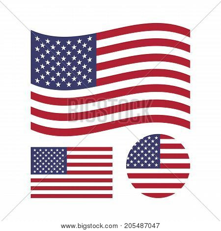 American flag set. Rectangular, waving and circle US flag. United States national symbol. Vector icons isolated on white background
