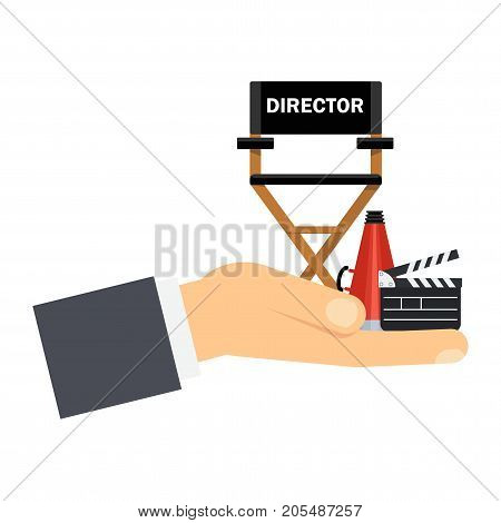 Hand holding film directors chair with megaphone projector camera and clapboard. Work on the set of the film. Flat vector cartoon illustration. Objects isolated on a white background.