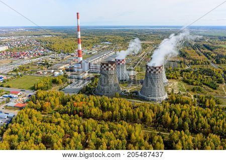 Tyumen Russia - September 16 2015: Aerial view on City Energy and Warm Power Plant