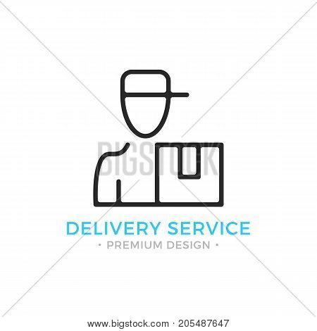 Delivery line icon. Courier with parcel box concept. Thin line style. Black vector courier delivery service icon isolated on white background