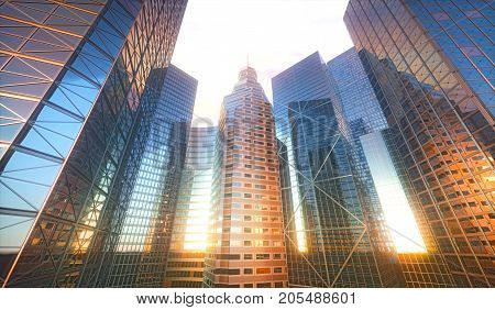 3D illustration. Conceptual city with sun reflection in the windows of buildings.