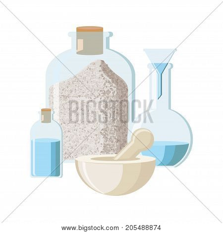 Pharmacy concept in vintage style. Alchemy concept. Chemistry equipment in vintage style. Chemical experiment concept. Set of bottle with poeder, bottle with liquid, flask and mortar with pestle. Vector illustration in flat style.