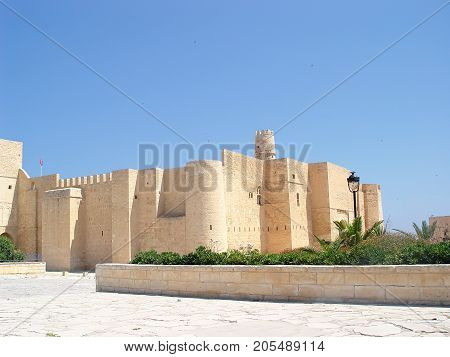 Stone fortress (ribat) with a tower in the city of Monastir. Tunisia