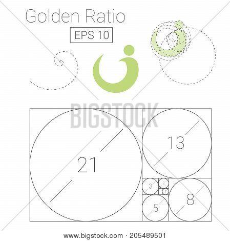 golden ratio template logo vector illustration fibonacci