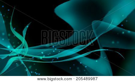 abstract background with glittering blurry blue lightsand waves. A party. Celebration. trendy background with blue waves and radiance in space.