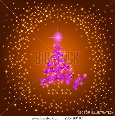 Abstract background with pink christmas tree and stars. Illustration in gold and pink colors. Vector illustration.