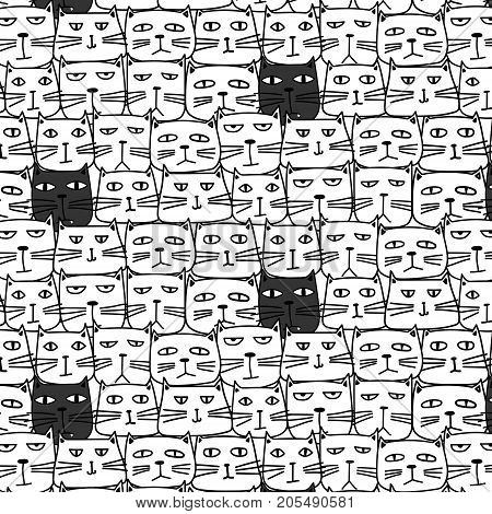 Hand Drawn Cute Cat Vector Pattern. Doodle art.