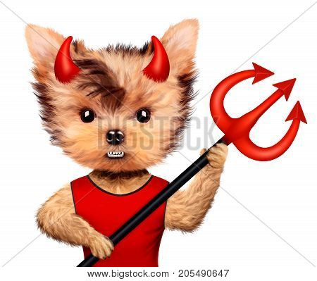 Funny cartoon animal Devil posing with trident. Halloween and Evil concept. Realistic 3D illustration.