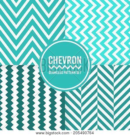 Chevron seamless pattern background set. Blue color vector illustration.