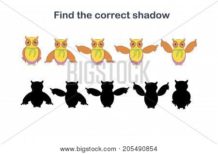 Find the correct cartoons owl shadow stock vector illustration. Game for children: Find the correct shadow (owl)