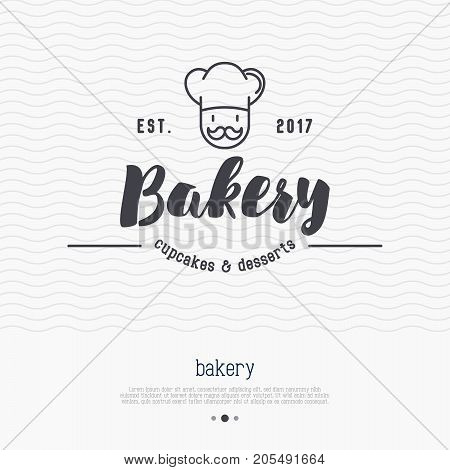 Bakery logo with thin line icon of chef with hat and mustache. Modern vector illustration.