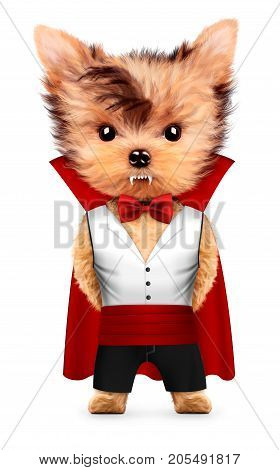 Funny cartoon animal Dracula posing with cloak. Halloween and Dead day concept. Realistic 3D illustration.