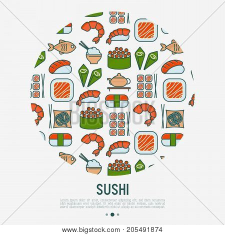 Japanese food circle concept with thin line icons of sushi, noodles, tea, rolls, shrimp, fish, sake. Vector illustration for banner, web page or print media.