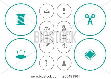 Collection Of Meter, Evening Gown, Pins And Other Elements.  Set Of 12 Sewing Icons Set.